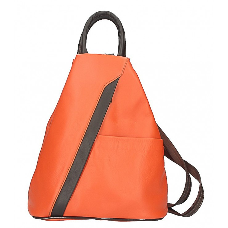 Leather backpack orange