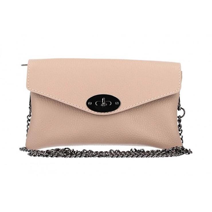 Ružová kožená kabelka na rameno 515