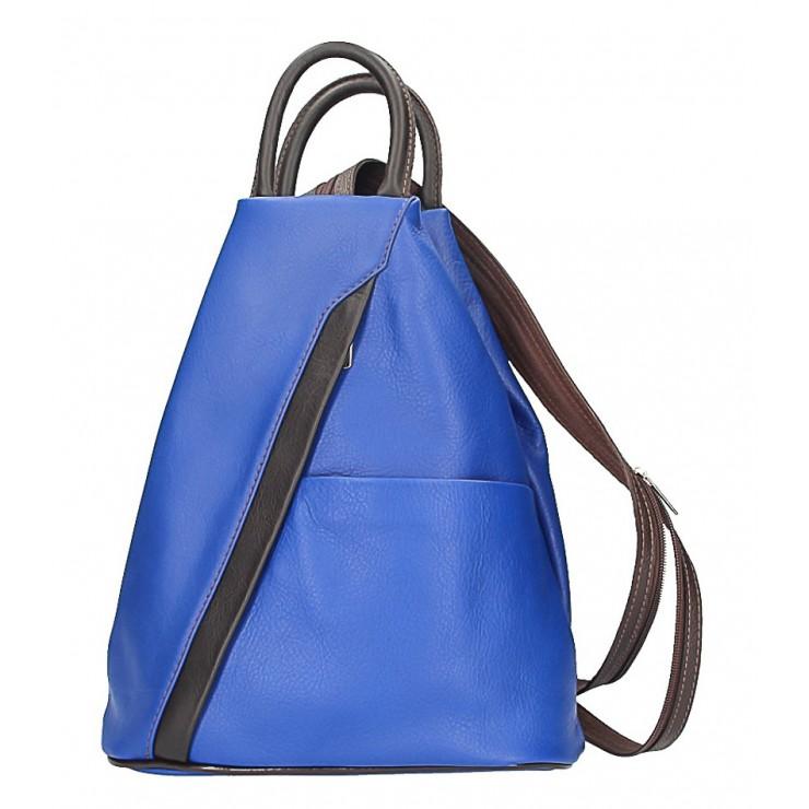 Kožený batoh azurovo modrý