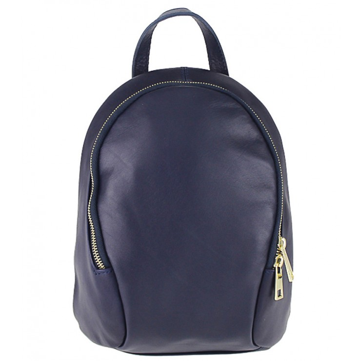 Leather backpack 1483 blue Made in Italy