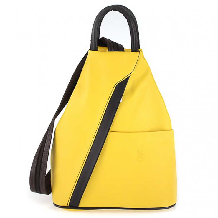 Leather backpack yellow + black