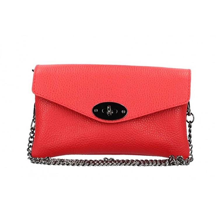 Rudá kožená kabelka na rameno 515