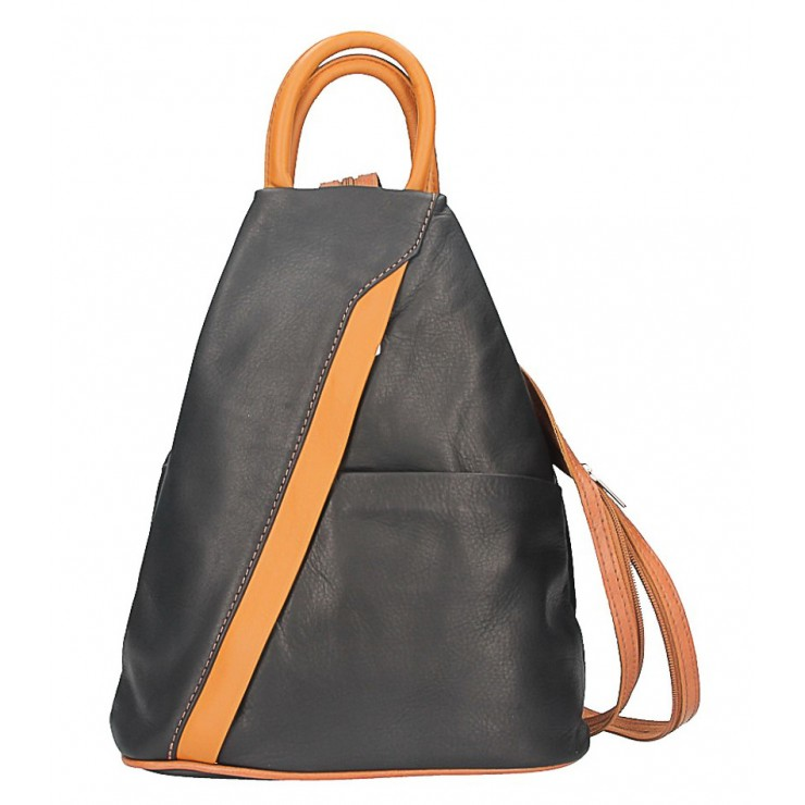 Leather backpack black + cognac