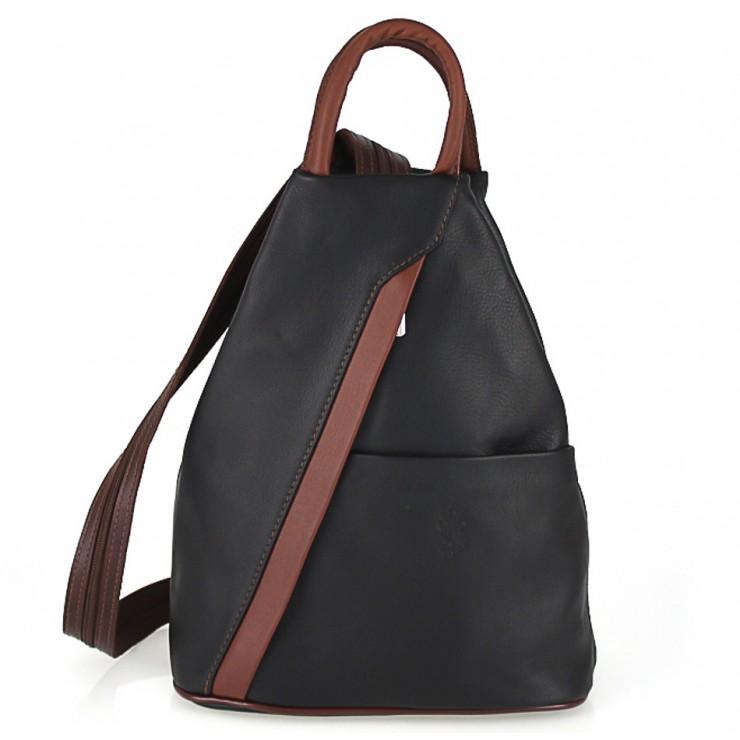 Kožený batoh čierna + hnedá