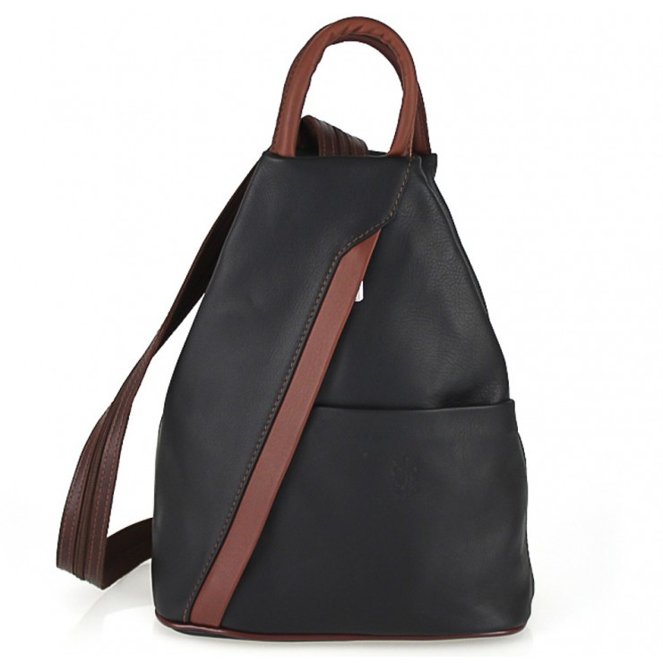 Leather backpack black + brown