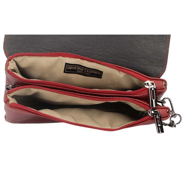 Červená kožená kabelka na rameno 515 Červená