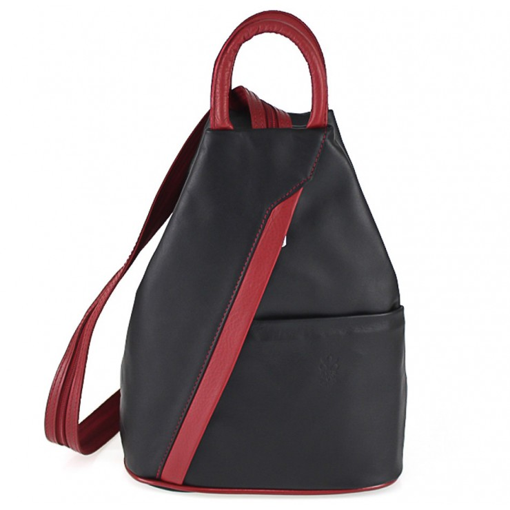 Leather backpack black + red