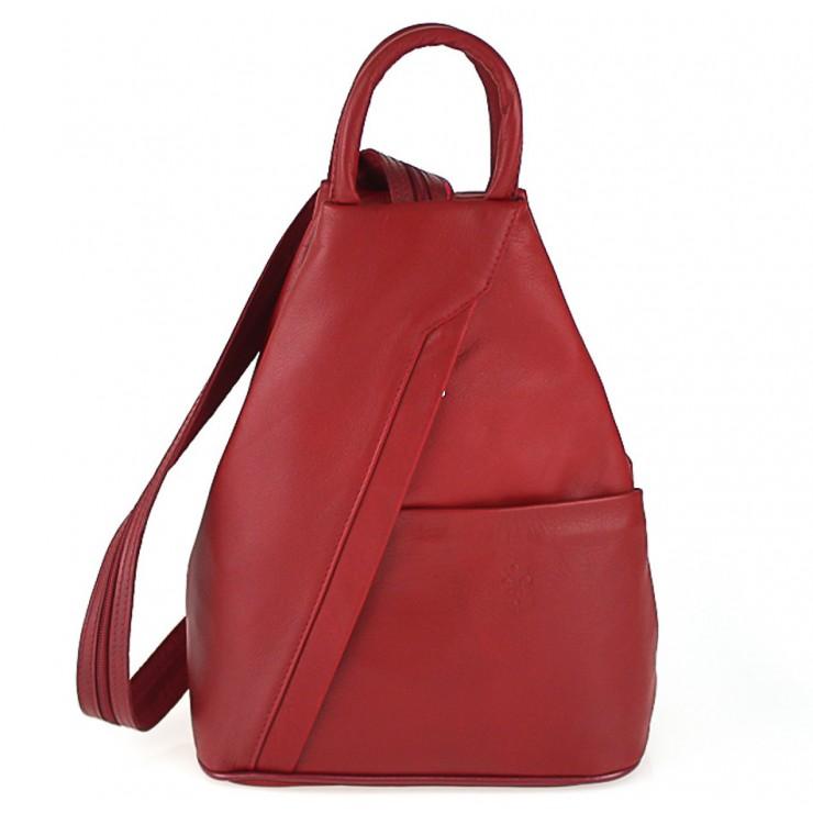 Kožený batoh červený