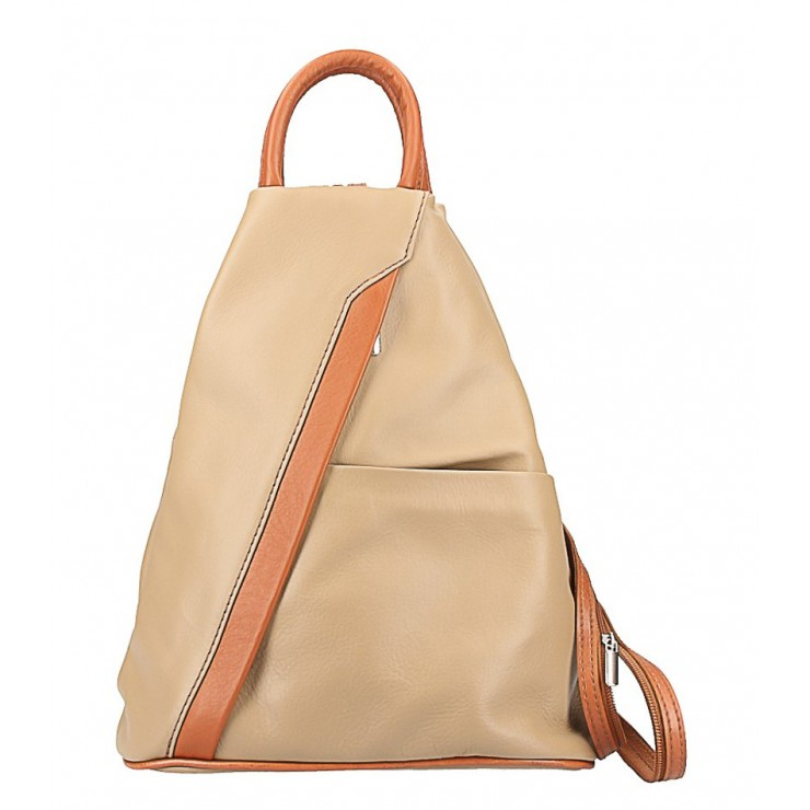 Leather backpack taupe + cognac