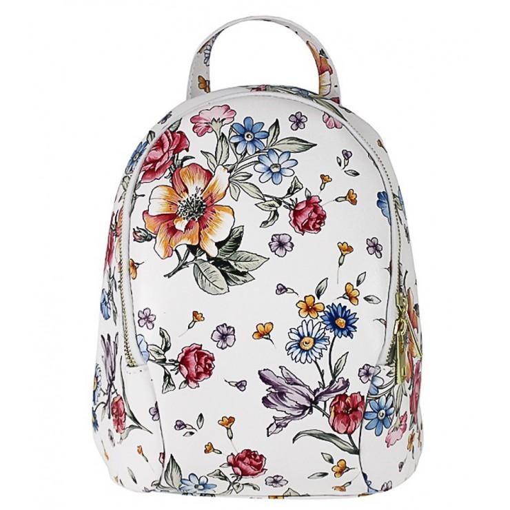 Kožený batoh 1483 Made in Italy biely s kvetinami