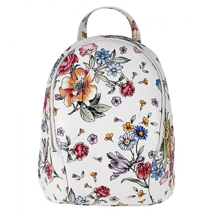 Leather backpack 1483 Made in Italy white with flowers