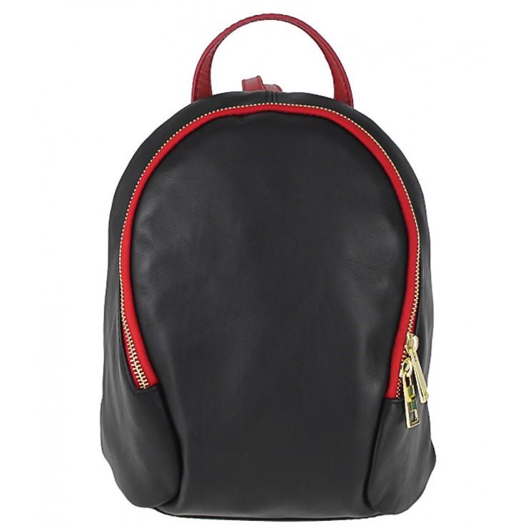 Kožený batoh 1483 Made in Italy čierna + červená