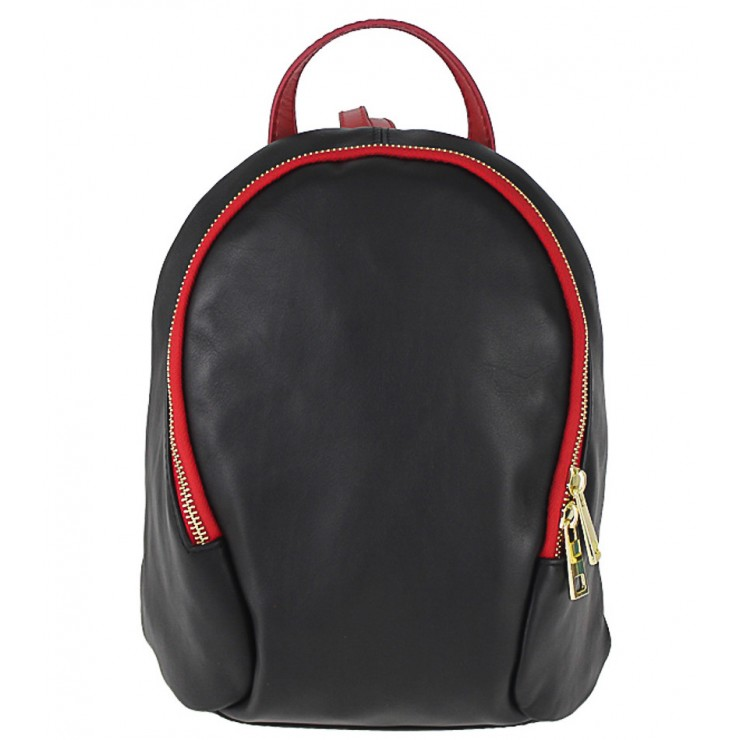 Leather backpack 1483 Made in Italy black + red