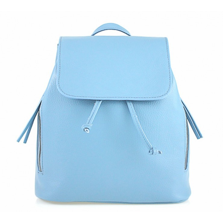 Leather backpack 420 Made in Italy light blue