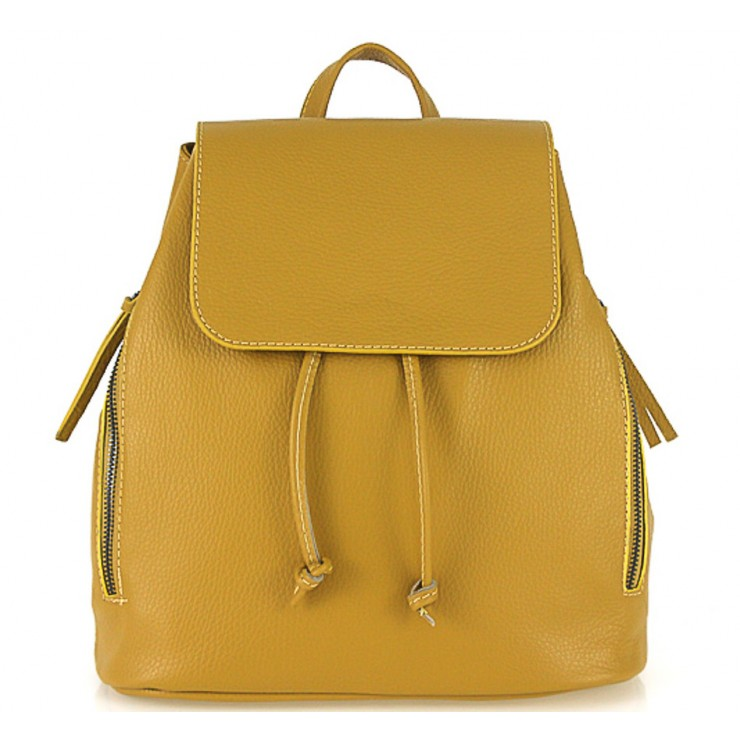 Leather backpack 420 Made in Italy mustard