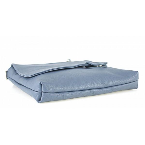 Kožená kabelka na rameno 485 Made in Italy modrá