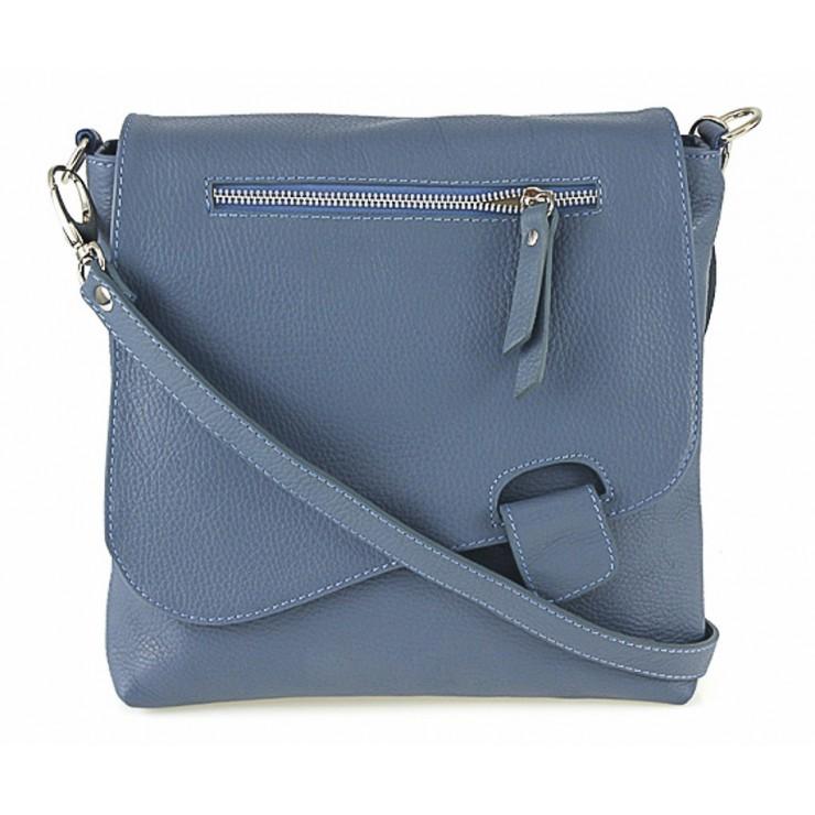 Kožená kabelka na rameno 485 Made in Italy nebesky modrá