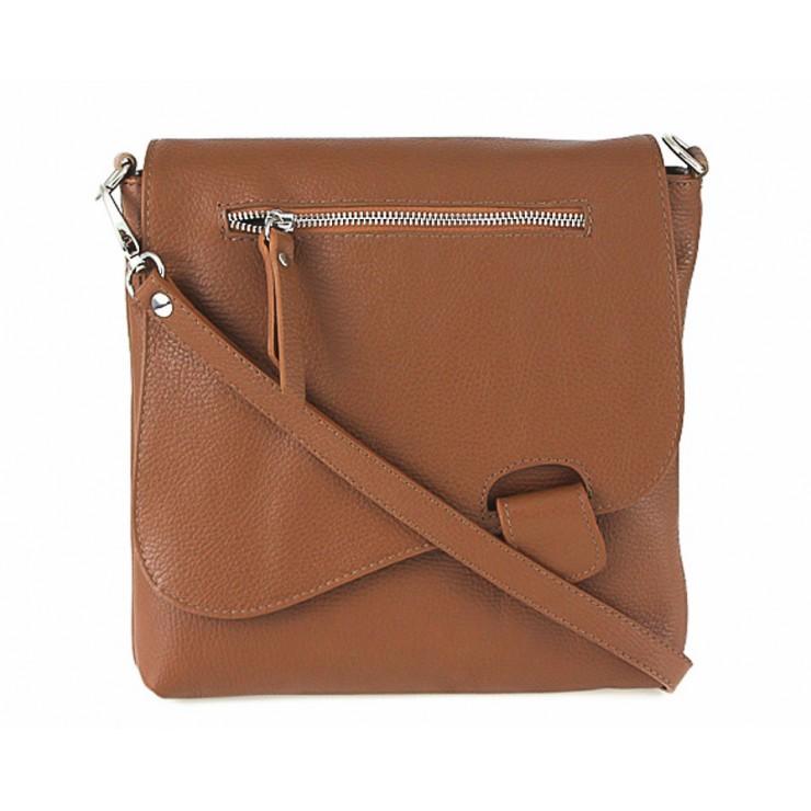 Kožená kabelka na rameno 485 Made in Italy koňaková