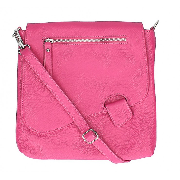 Leather Messenger Bag 485 Made in Italy fuxia