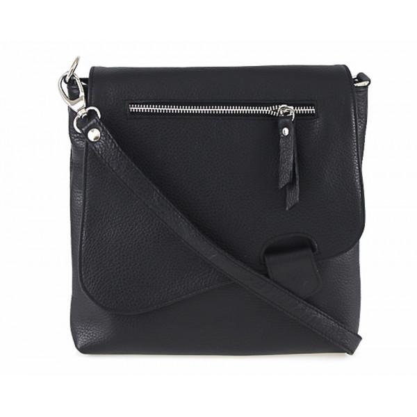 Kožená kabelka na rameno 485 Made in Italy čierna