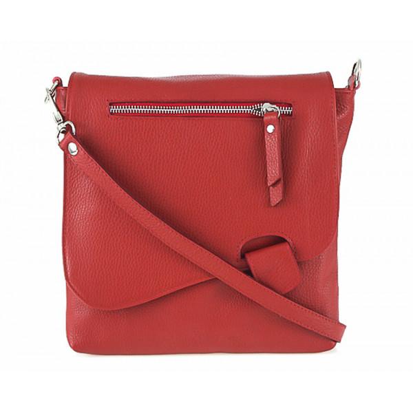 Kožená kabelka na rameno 485 Made in Italy červená