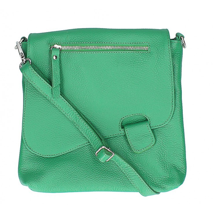 Leather Messenger Bag 485 Made in Italy green