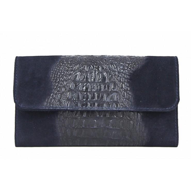 Kožená kabelka 1251 Made in Italy modrá