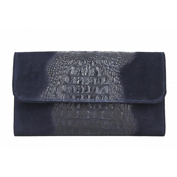 Kožená kabelka 1251 Made in Italy modrá Modrá