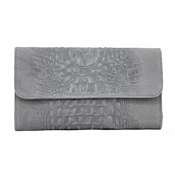 Kožená kabelka 1251 Made in Italy šedá Šedá