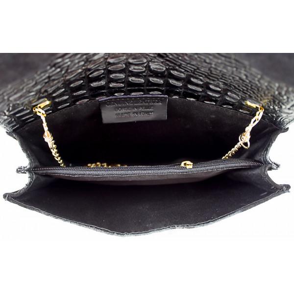 Kožená kabelka 1251 Made in Italy čierna Čierna