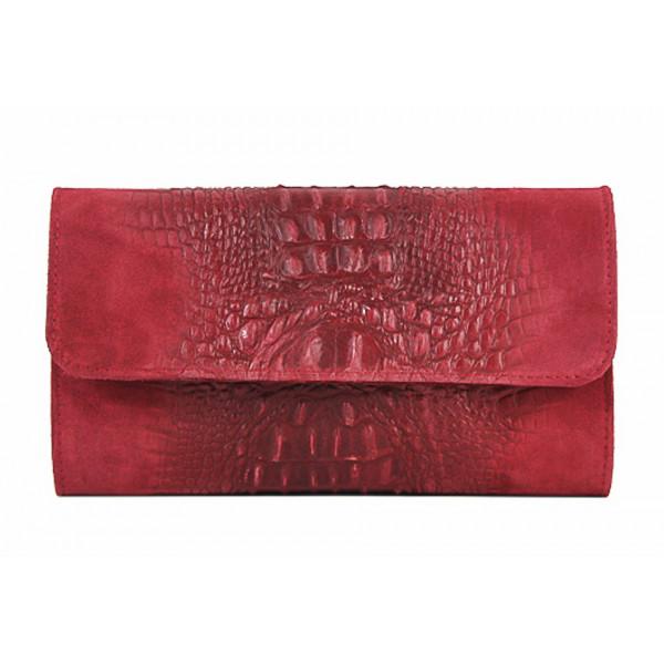 Kožená kabelka 1251 Made in Italy červená Červená