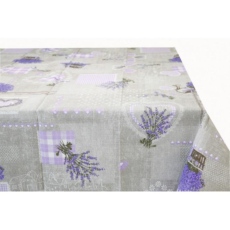 Bavlnený obrus Levanduľa s fialovými srdiečkami Made in Italy
