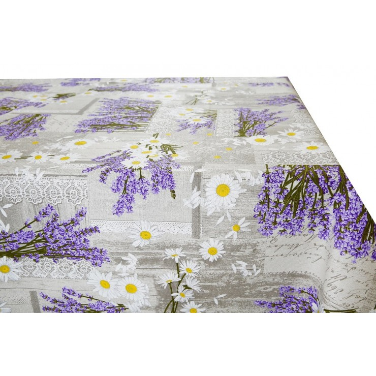 Cotton tablecloth Lavender with margarettes Made in Italy