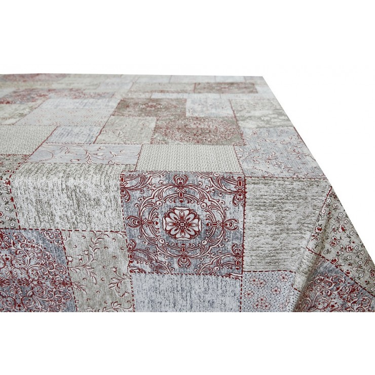 Cotton tablecloth patchwork bordeaux Made in Italy