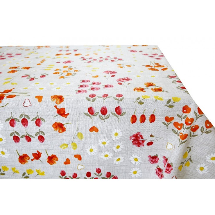 Cotton tablecloth orange flowers Made in Italy