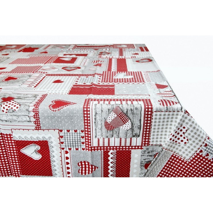 Red patchwork tablecloth Made in Italy