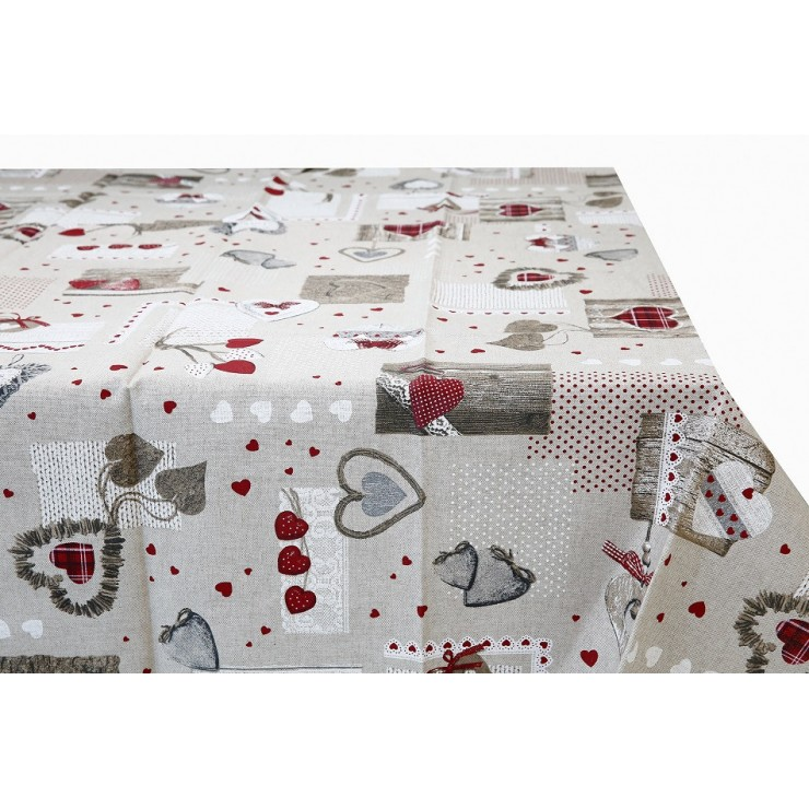 Tablecloth red hearts Made in Italy