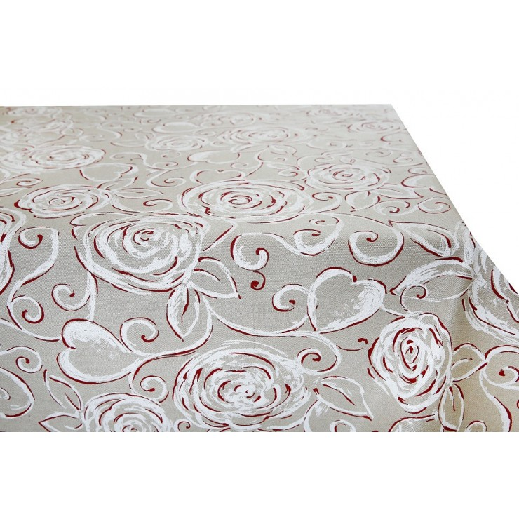 Tablecloth red Peonies Made in Italy