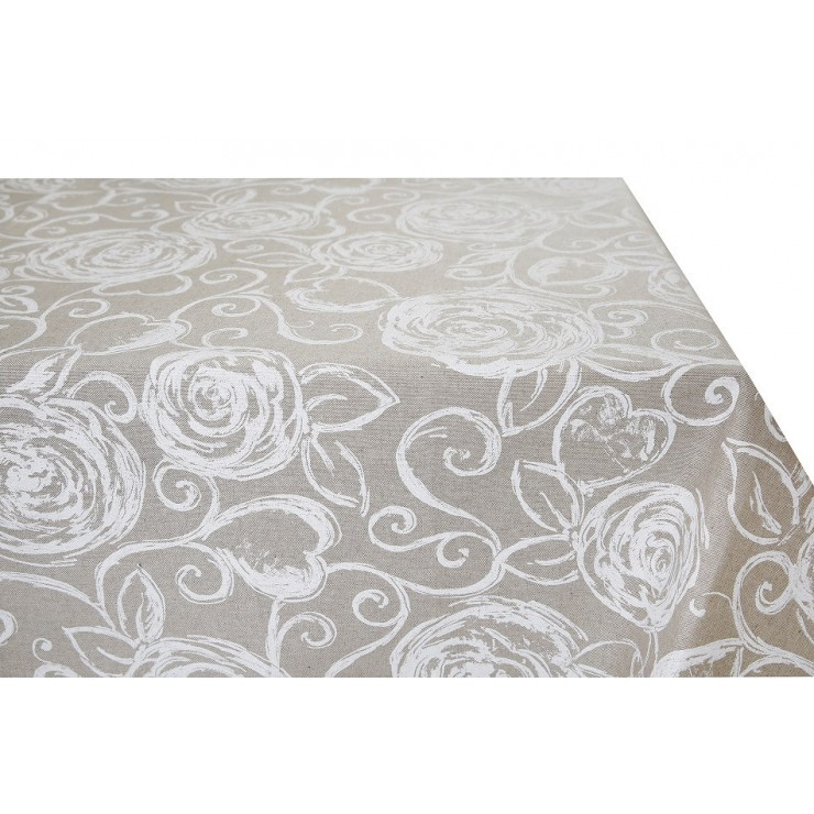 Tablecloth white peonies Made in Italy