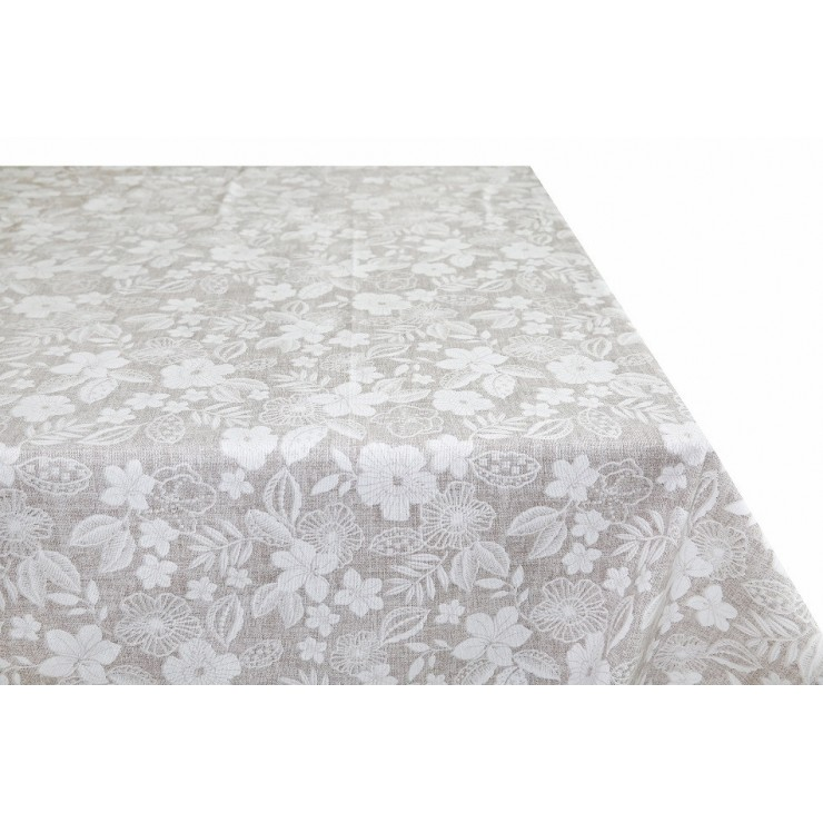 Cotton tablecloth beige with white flowers  Made in Italy