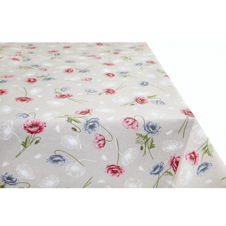 Tablecloth powder-pink wild poppies Made in Italy