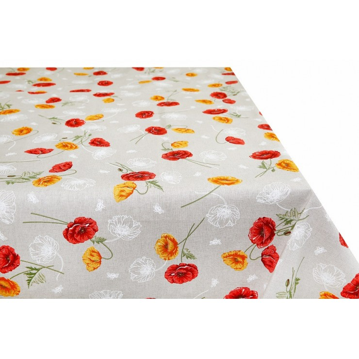 Tablecloth orange wild poppies Made in Italy