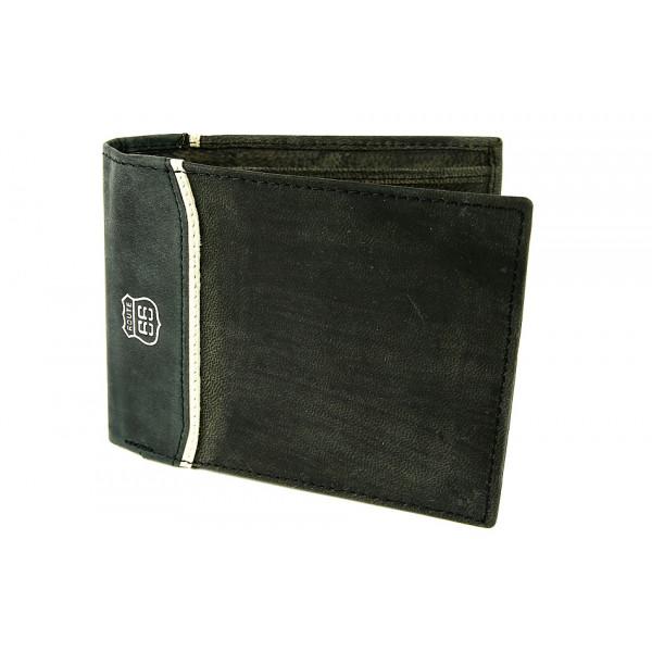 Pánska kožená peňaženka 734 šedo-čierna Route 66 Čierna