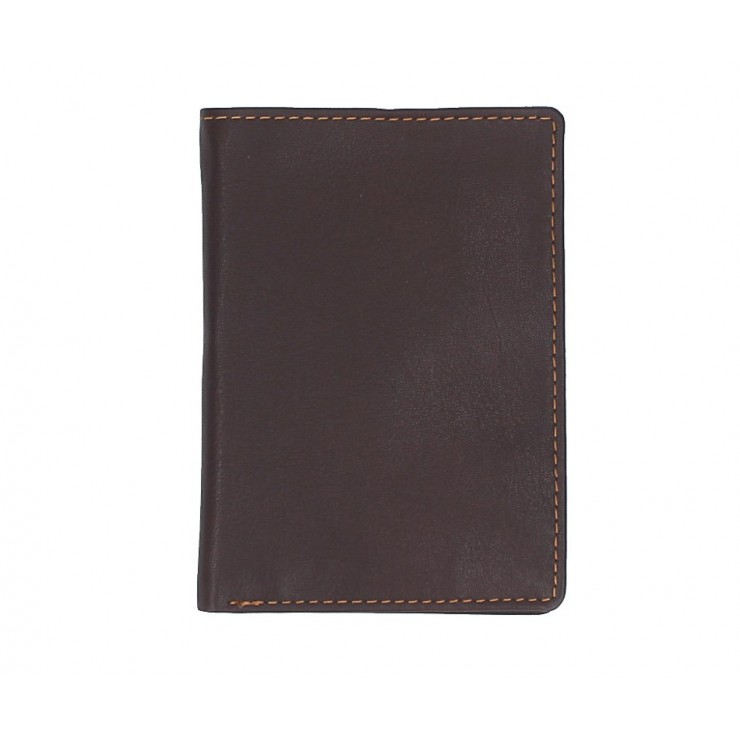 Leather business card holder 790 dark brown