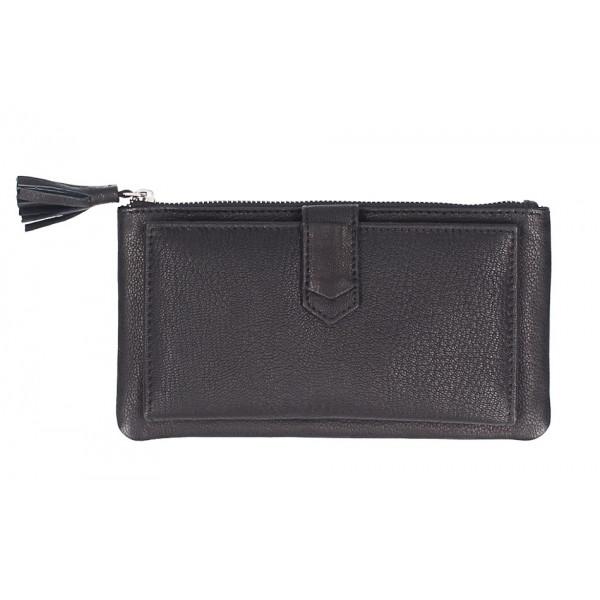 Dámska kožená peňaženka 384 čierna Čierna