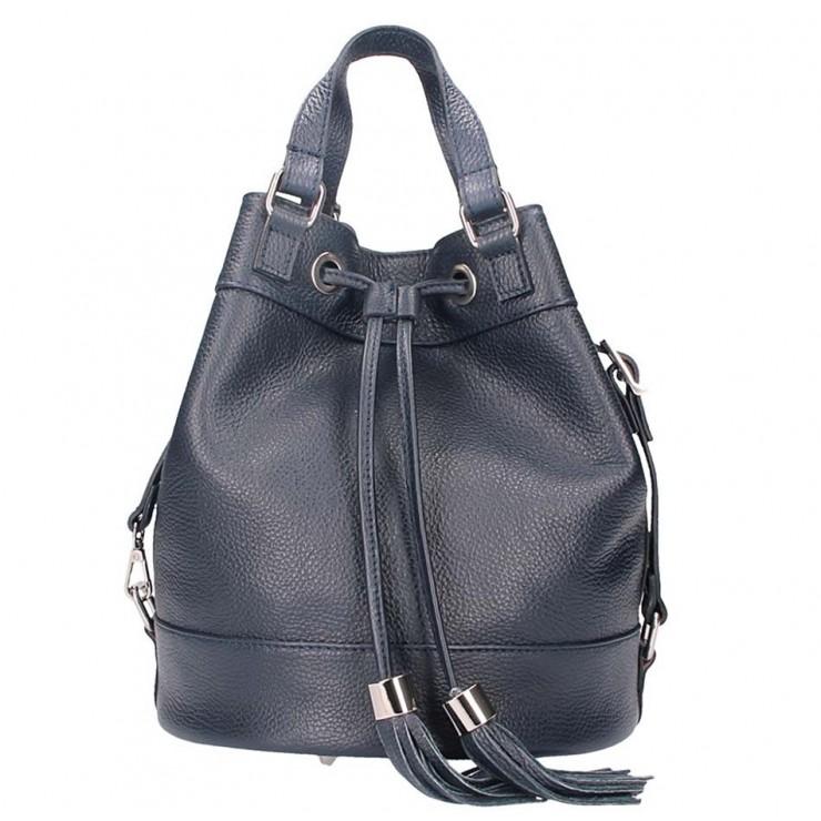 Leather Shoulder Bag 338 dark blue