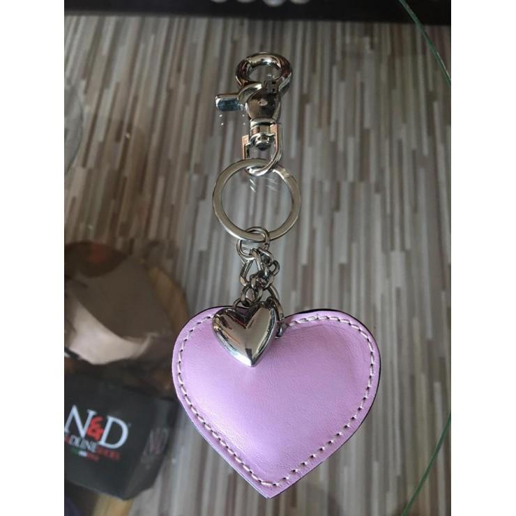 Kožená klíčenka srdce růžová Made in Italy