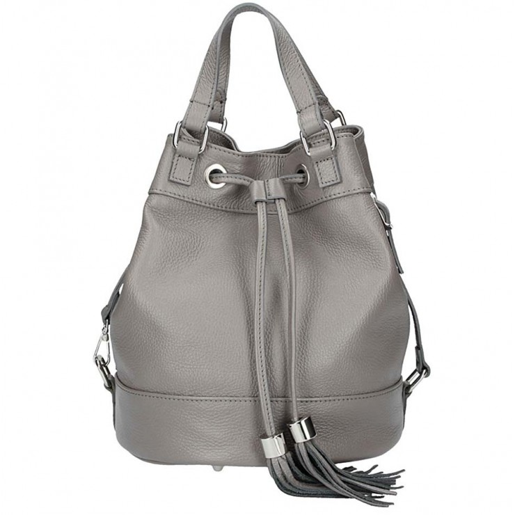 Leather Shoulder Bag 338 dark gray