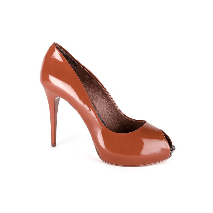 Woman high heels 633 cognac Elisa Morelli
