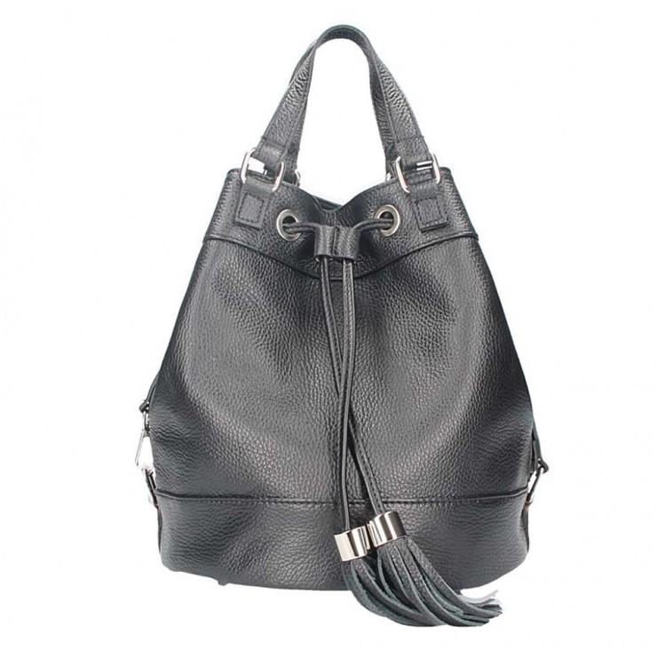 Čierna kožená kabelka 338